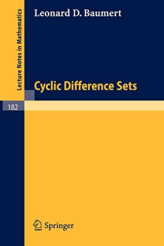 Cyclic Difference Sets (Lecture Notes in Mathematics (182), Band 182)