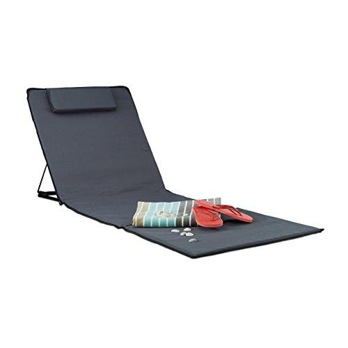 Relaxdays Strandmatte, gepolsterte Sonnenliege mit Kopfkissen, verstellbare Strandliege inkl. Tragetasche Deluxe XXL, Anthrazit, 44x41x25 cm (Leichte, Tragbare Stühle)