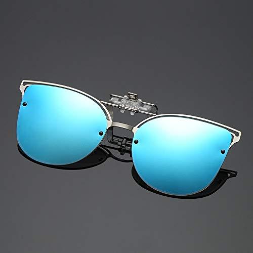 WDDYYBF Sonnenbrillen, Polarisierte Sonnenbrille Frauen Einrasten In Der Nähe Gesichtet Fahren Night Vision Linse Kurzsichtigkeit Brillen Clip Damen Flip-Up-Brille Blau