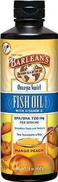 2x pack Barlean's Omega Swirl Fish Oil, Mango Peach, 16oz