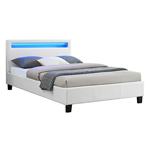 IDIMEX Lit Simple pour Adulte MIRANDO Couchage 120 x 190 cm avec sommier 1 Place et Demi pour 1 Personne, tête de lit avec LED intégrées, revêtement synthétique Blanc