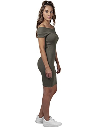 Urban Classics Damen Kleid Ladies Off Shoulder Rib Dress Grün (olive 176)