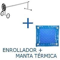 PACK MANTA TÉRMICA (COBERTOR TÉRMICO-CUBIERTA ISOTÉRMICA-TOLDO PARA PISCINA) DE 600 MICRAS ECONÓMICA CON REFUERZO EN TODO EL CONTORNO (7x3.5m) + ENROLLADOR TELESCÓPICO DE 81mm.