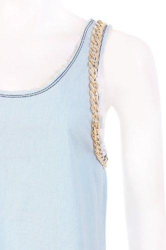 Tank Top in Jeans mit Kette Blau - Bleu clair