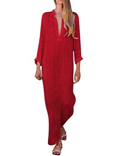 Minetom Femme Robe à Manches Longues Robe d'hiver Robe sans Manches col V Sexy pour Femmes Robe Maxi à imprimé bohème Longue Swing Robes ete Femme Longue B Rouge FR 44