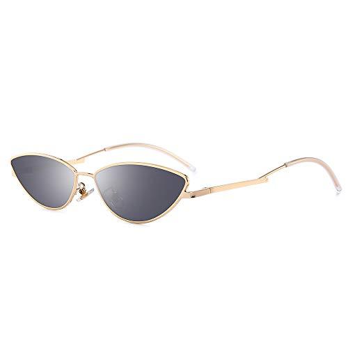 AMZTM Kleine Katzenauge Sonnenbrille - Vintage Mode Designer Sonnenbrillen für Mädchen Damen Goldener Rahmen Graue Linse UV400 Schutz HD Vision Schlanke Sonnen Brillen