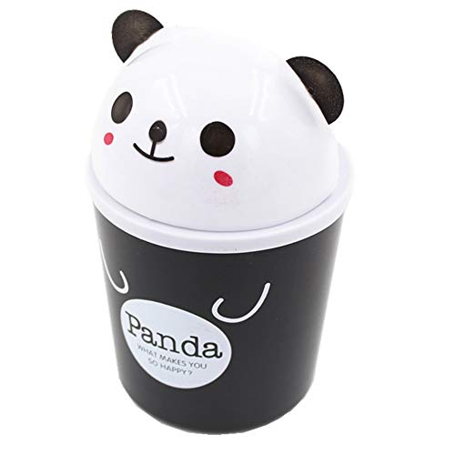 Trixes Niedlicher Panda Mini Schreibtisch Papierkorb Tischmülleimer mit Schwingdeckel -