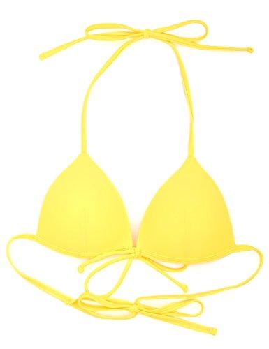 RELLECIGA Damen Bademode Bikini Top Push-up Triangel Oberteil Gelb