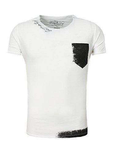key-largo-herren-t-shirt-hunt-vintage-look-printshirt-gut-kombinierbar-weiss-xxl