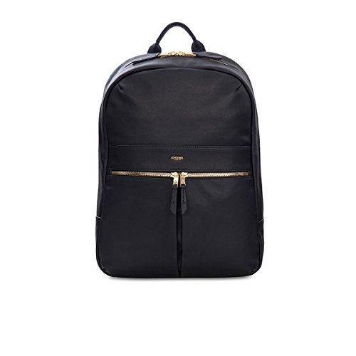 Verarbeitetes Rucksack Leder (Knomo 120-401-BLK Mayfair Luxe Beaux, edler Damen-Rucksack aus Leder mit einer Vielzahl von Fächern und Einschubtasche für 14 Zoll Notebooks | Schwarz)