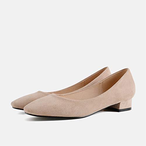 Yukun Schuhe mit hohen Absätzen Quadratische Haupt-Einzelschuh-weibliche Art und Weise 5Cm Schwarze hohe Absätze dick mit feenhaften Schuhen mit Mädchen, 37, nackte Farbe 2.5Cm