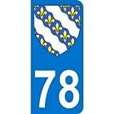 Autocollant 78 avec blason Yvelines plaque immatriculation Auto (9,8 x 4,5 cm)