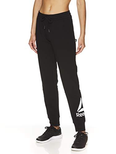 Reebok Women's Slim Fit Jogger Pants - Mid Rise Waist Athleisure Sweatpants for Women - Black Metro 2.0, X-Small