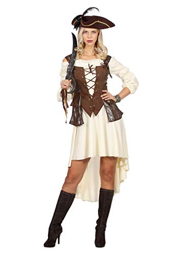 The Fantasy Tailors Piraten-Kostüm Damen kurz mit Corsage Beige Braun Damenkostüm Pirat Freibeuter Karneval Fasching Hochwertige Verkleidung Fastnacht Größe 46 Braun/Weiß (Fantasy Piraten Kostüme)