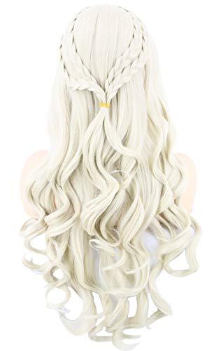 Topcosplay Damen Perücke BlondKhaleesiDaenerys Targaryen Perücke Lang Gewellten Lockig für Cosplay Halloween - Khaleesi Daenerys Targaryen Kostüm