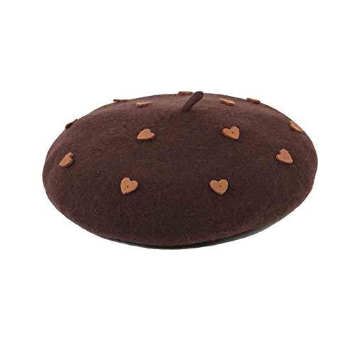 Sunny Süßes Und Reizendes Französisches Barett, Herzförmige Verschönerung, Frau Und Mädchen Beanie-Hut, Kaffeefarbe