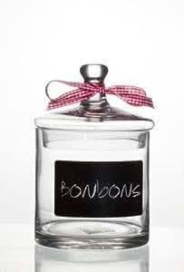 BONBONNIERE EN VERRE - BOCAL A BONBON - INSCRIPTION BONBON AVEC NOEUD VICHY ROUGE ET BLANC - pour candy bar - bar à bonbons