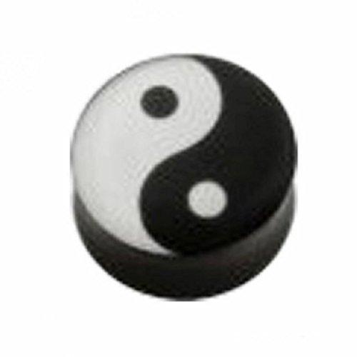 eeddoo Acryl - Plug - konkav - Yin & Yang - 6 mm (Piercing Flesh Tunnel Ohr Plug für gedehnte Ohren Lobes Tubes)
