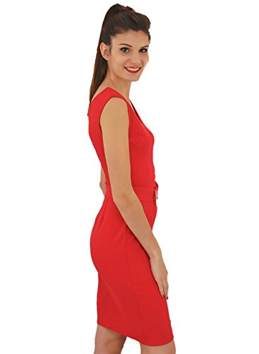 Robe Droite Working Girl Mi-Longue Rouge Rouge