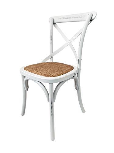 Totò Piccinni Sedia in Legno Design Cross, Seduta Intreccio Rattan, Alta QUALITA' (Bianco Antico, 1)