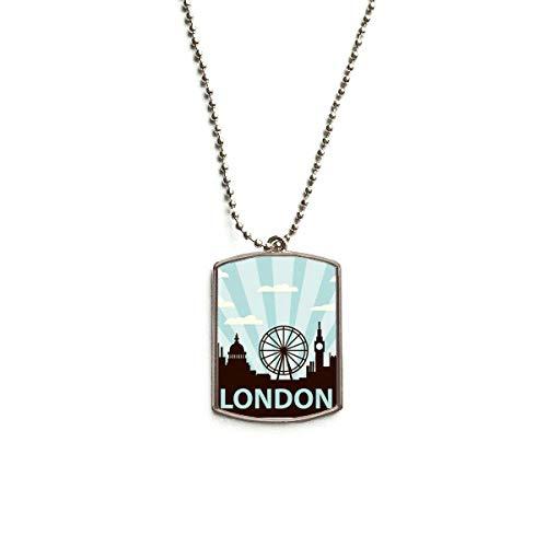 QQJSY Halskette mit Anhänger aus Edelstahl, Motiv London Eye Silhouette Großbritannien