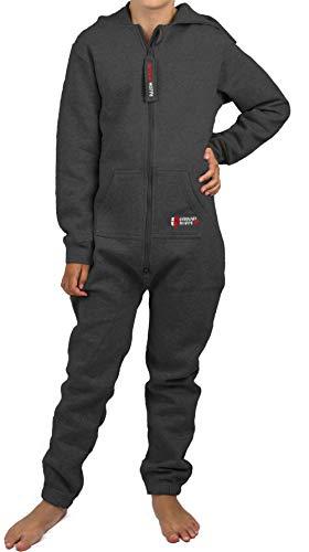 Gennadi Hoppe Kinder Jumpsuit - Jungen, Mädchen Onesie Jogger Einteiler Overall Jogging Anzug Trainingsanzug, dunkelgrau,158-164