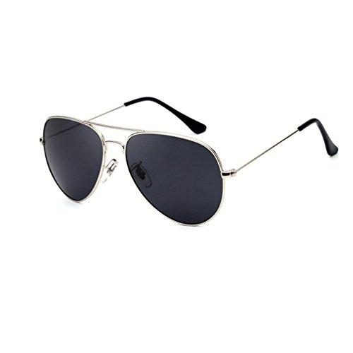 Metallische Polarisierte Sonnenbrille Oval Klassische Sonnenbrille Männer & Frauen Polarisatoren Outdoor-Reise-Sonnenbrille Silber Box Schwarz Grau Polarisator (Geschenkbox Verpackung)