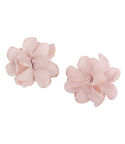 """Preisvergleich Produktbild SIX """"Blumen"""" 2er Set Haar Spangen, Haarklammern, Haarclips mit schönen rosa glitzernden Orchidee Textil Blumen, Damen, Kinder, Dutt, 6 cm (488-073)"""