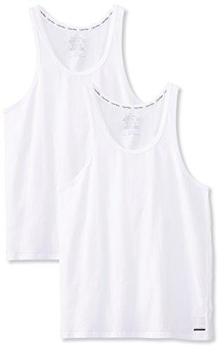 Calvin Klein Herren 2ptank Top, Weiß White, Medium (erPack 2 -
