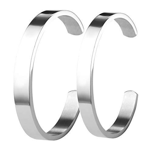 Zysta 2 StückPaar SchmuckEdelstahl Armband Männer Frauen Armreif Damen Herren Armspange Silber Gold Schwarz Verstellbar (Silber Set)