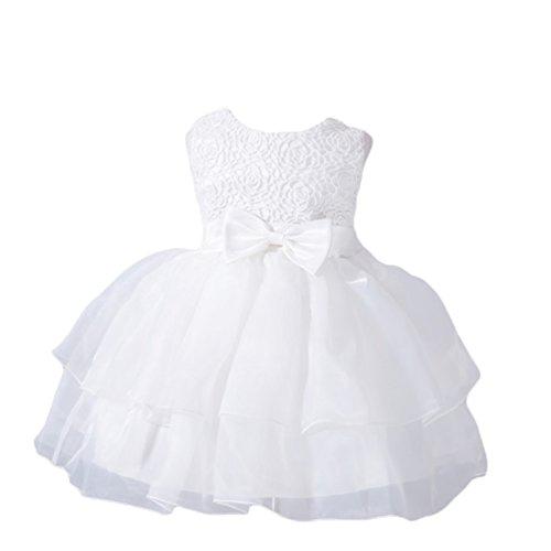 YuanDian Bimba Neonata Battesimo Cerimonia Abiti Tulle Pieghe Bowknot Senza Maniche Fiore Matrimonio Damigella Compleanno Partito Principessa Sera Vestiti Bianco M/6-12 Meses