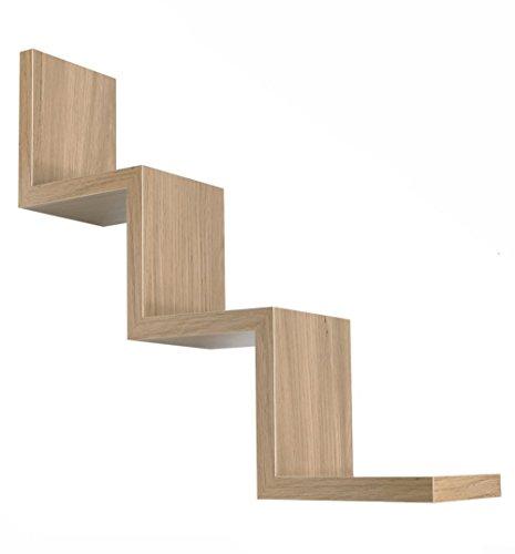 Vetrineinrete® mensola da parete a zig zag in legno mdf libreria design moderno wengé o noce 3 ripiani scaffale fissaggio a muro a scomparsa kit incluso 59 x 12 cm (noce) e63