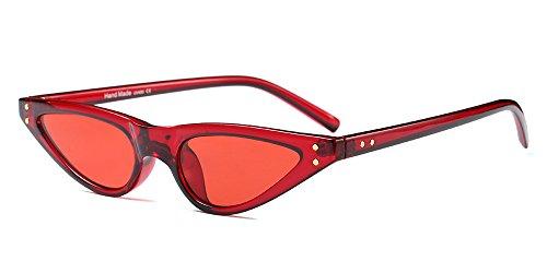 BOZEVON Damen Mode UV Brillen Cool Retro Klassisch Dreieck Sonnenbrille, Rot