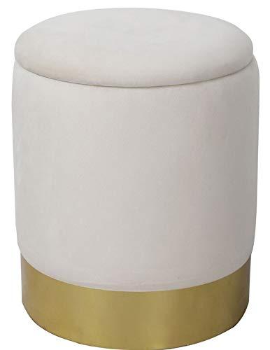 Creme-ottomane (Sitzhocker Luxus Polsterhocker Möbel Samt Velour Pouf Sitzhocker Recarniere mit Stauraum Ottomane Deckel abnehmbar Ø 31cm x H. 38 creme weiß Velour aus 100% pflegeleichtem Polyester, Gestell aus Holz)