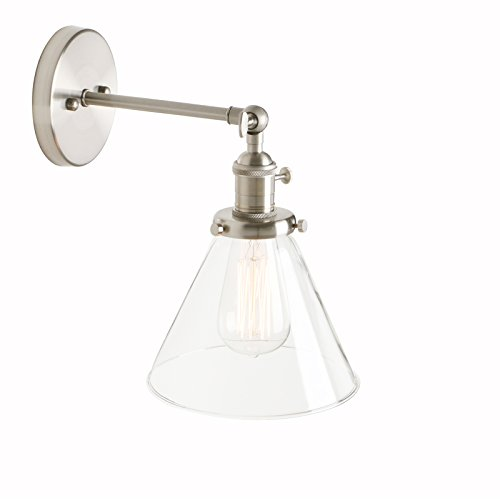Klar, Schornstein (Pathson Antik Deko Design Kleine Schornstein Klar Glas innen Wandbeleuchtung Wandleuchten Loft-Wandlampen Wandbeleuchtung (Gebürsteter Edelstahl Farbe))