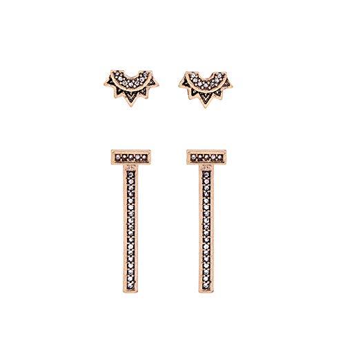 Wanmei-erhuan Cabrio Geometrische Crystal Bar Ohrringe Frauen Schmuck Mode Doppel Seiten Retro Ohrringe Zubehör - Cabrio Herz