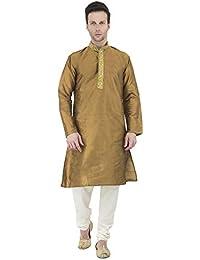 SKAVIJ Herren indische Kurta Schlafanzugoberteil Langarm Sherwani Sommer Festlich Kleid