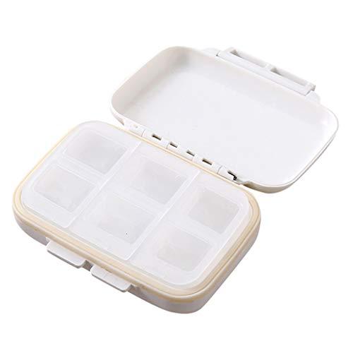 JIJI886 Pillbox Travel-Trasportare la mini scatola di pillole per medicinali (bianca)