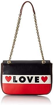 Love Moschino Borsa Small Grain Pu, Tracolla Donna, Nero (Nero/Bianco/Rosso), 19x28x6 cm (W x H x L)