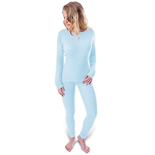 Black Snake Damen Thermo Unterwäsche mit Innenfleece - Set Unterhemd und Unterhose - S - Hellblau