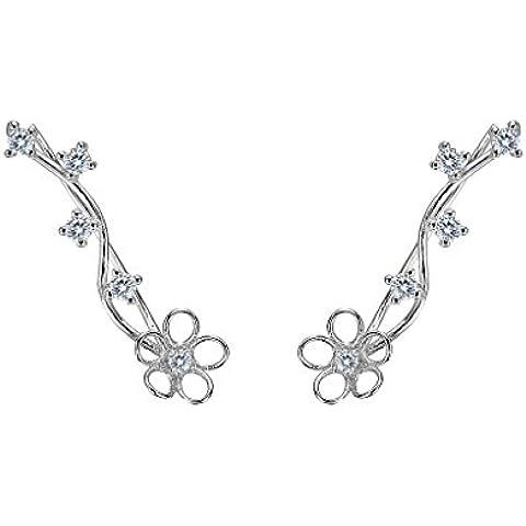 EleQueen argento 925 completa Cubic Zirconia orecchio vite del fiore Crawlers Sweep polsino dell'involucro orecchini del gancio 1 coppia - Cristallo Sweep Goccia