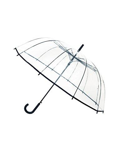 Smati Damen VollAutomatik Regenschirm Glockenschirm mit 12 Speichen Fiberglas/Satin BEZUG/windundurchlässige - Großer Hochzeitsschirm für 2 transparent XXL/durchsichtig (Schwarz)