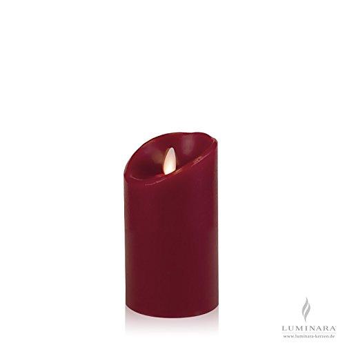 Luminara LED vela de cera con 8x 13cm burdeos lisa