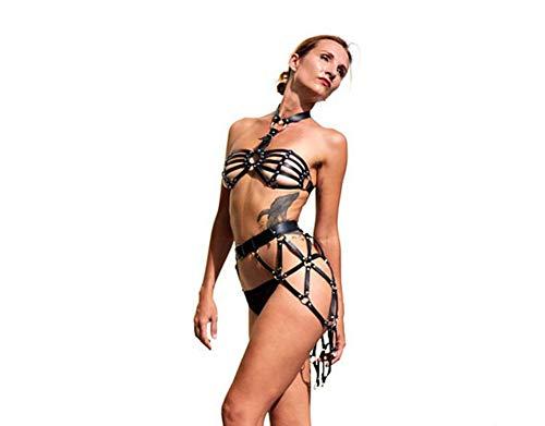 Sijux Leder Body Erotic Dessous Harness Von Frauen Sexy Bondage Dessous Punk Goth BH Gürtel Full Dance Festival Rave Wear,Black,M