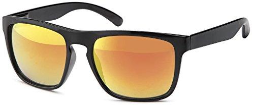 Original La Optica Unisex Retro Sonnenbrille im Wayfarer Stil - Verschiedene Designs, Farben und Sets (Glänzend Schwarz (Gläser: Rot verspiegelt))
