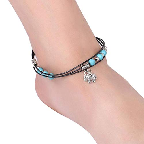 Anklets Considerate Beautiful Handmade White Turquoise Bead And Bronze Leaf Feather Charm Anklet Goods Of Every Description Are Available