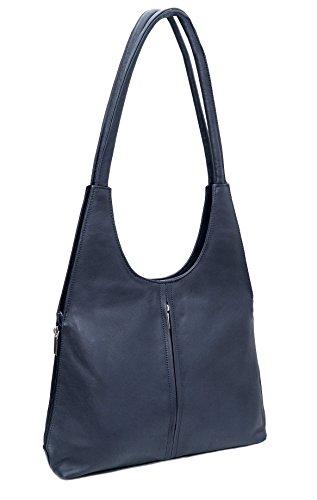 DEVRAKH Damen Tasche Ledertasche echt Nappa Leder Handtasche Umhängetasche Shopper Schultertasche Frauen Taschen Handtaschen Beuteltasche mittelgroß edles Design Lederhandtasche Blau
