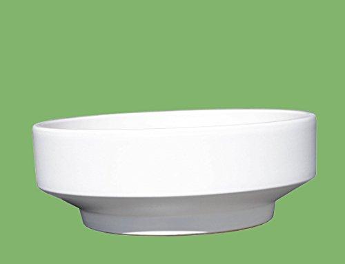 Keramik Pflanzschale Grabschale Deko-Schale rund frostfest Ø 27 x 11 cm, Farbe weiß, Form 059.L27.04 mit Bodenloch - Qualität von Hentschke Keramik