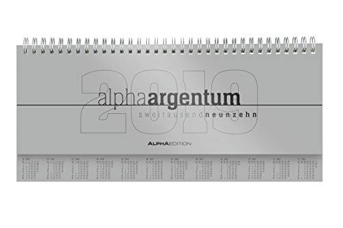 Tisch-Querkalender alpha argentum 2019 -  Tischkalender / Bürokalender (29,7 x 13,5) - 1 Woche 2 Seiten - silber