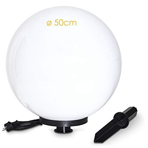 Kugelleuchte Miau, Kugellampe mit Erdspieß, Außenleuchte aus weißem Kunststoff Ø 50 cm, Außenleuchte mit E27-Fassung, Leuchtkugel mit 5 Meter Zuleitung